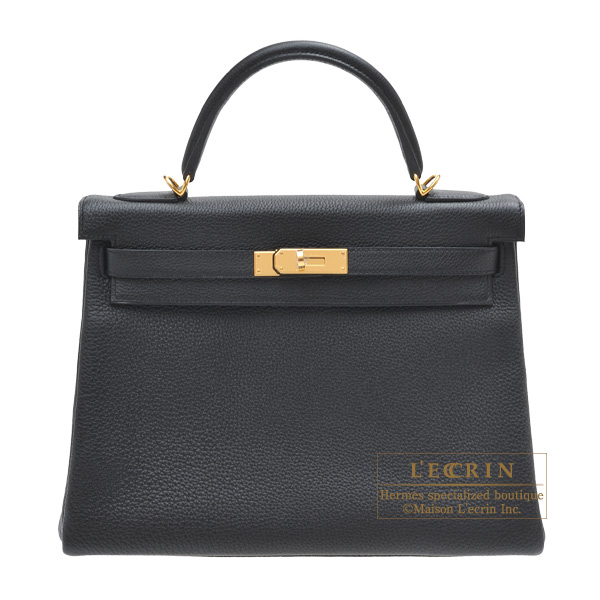 Hermes Kelly bag 32 Retourne Black Togo leather Gold hardware