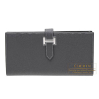 Hermes Bearn Soufflet Graphite Epsom leather Silver hardware