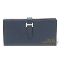 Hermes Bearn Soufflet Blue de presse Epsom leather Silver hardware