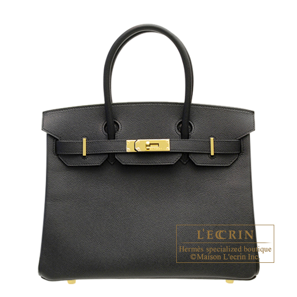 Hermes Birkin bag 30 Black Epsom leather Gold hardware
