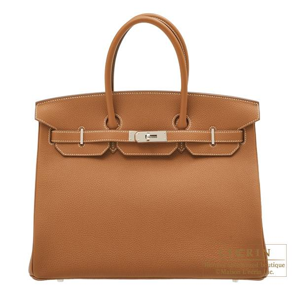 Hermes Birkin bag 35 Gold Togo leather Silver hardware