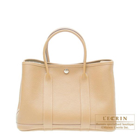 Hermes Garden Party bag TPM Beige Buffalo sindhu leather Silver hardware