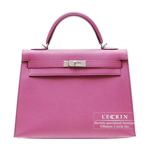 Hermes Kelly bag 32 Sellier Fuschia pink Chevre Coromandel Silver hardware