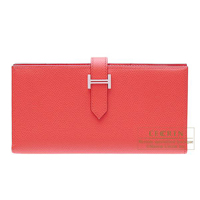 Hermes Bearn Soufflet Bougainvillier Epsom leather Silver hardware