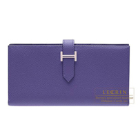 Hermes Bearn Soufflet Iris Epsom leather Silver hardware