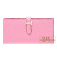 Hermes Bearn Soufflet Pink Epsom leather Silver hardware
