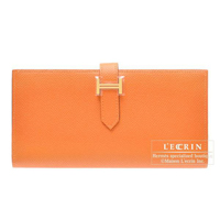 Hermes Bearn Soufflet Orange Epsom leather Gold hardware