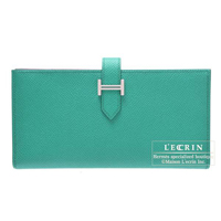 Hermes Bearn Soufflet Blue paon Epsom leather Silver hardware