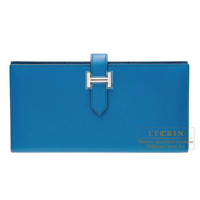 Hermes Bearn Soufflet Blue izmir Tadelakt leather Matt silver hardware