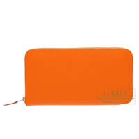 Hermes Azap long Orange Epsom leather Silver hardware