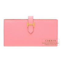 Hermes Bearn Soufflet Rose confetti Epsom leather Gold hardware