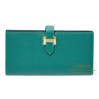 Hermes Bearn Soufflet Malachite Epsom leather Gold hardware