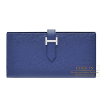 Hermes Bearn Soufflet Blue saphir Epsom leather Silver hardware