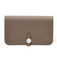 Hermes Dogon GM Taupe grey Togo leather Matt silver hardware