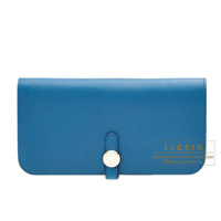 Hermes Dogon Long Blue de galice Evercolor leather Silver hardware