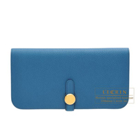Hermes Dogon Long Blue de galice Togo leather Gold hardware