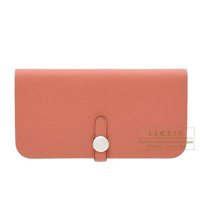 Hermes Dogon Long Rosy Togo leather Matt silver hardware