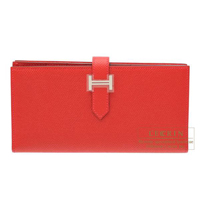 Hermes Bearn Soufflet Rouge casaque Epsom leather Silver hardware