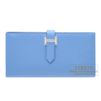 Hermes Bearn Soufflet Blue paradise Epsom leather Silver hardware
