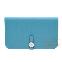 Hermes Dogon GM Turquoise blue Togo leather Silver hardware