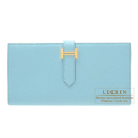 Hermes Bearn Soufflet Blue atoll Epsom leather Gold hardware