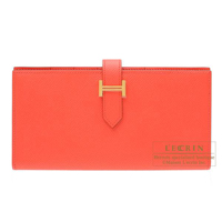 Hermes Bearn Soufflet Rose jaipur Epsom leather Gold hardware
