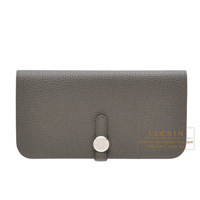 Hermes Dogon Long Olive green Togo leather Silver hardware