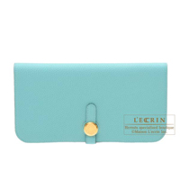 Hermes Dogon Long Blue atoll Togo leather Gold hardware