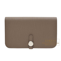 Hermes Dogon GM Taupe grey Togo leather Silver hardware