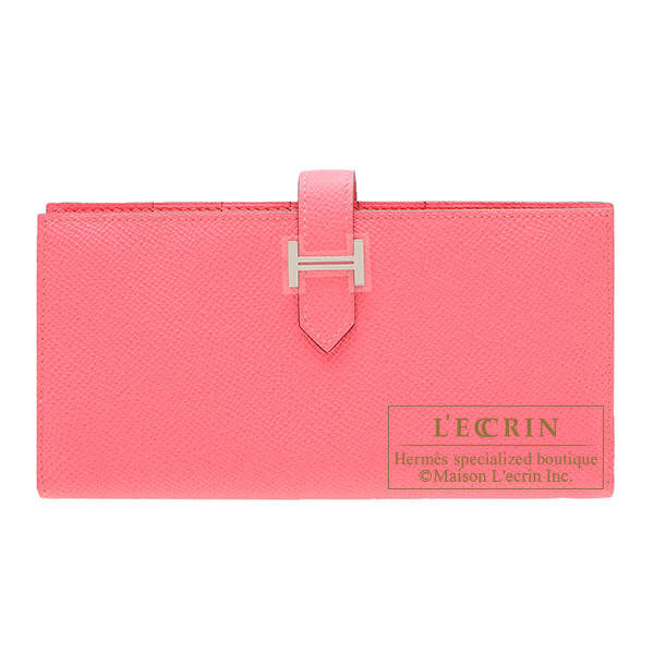 Hermes Bearn Soufflet Rose azalee Epsom leather Silver hardware