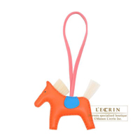 Hermes Rodeo charm Crin PM Orange poppy/ Blue zanzibar/ Natural sable Agneau/Horsehair