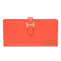 Hermes Bearn Soufflet Rose jaipur Epsom leather Champagne gold hardware