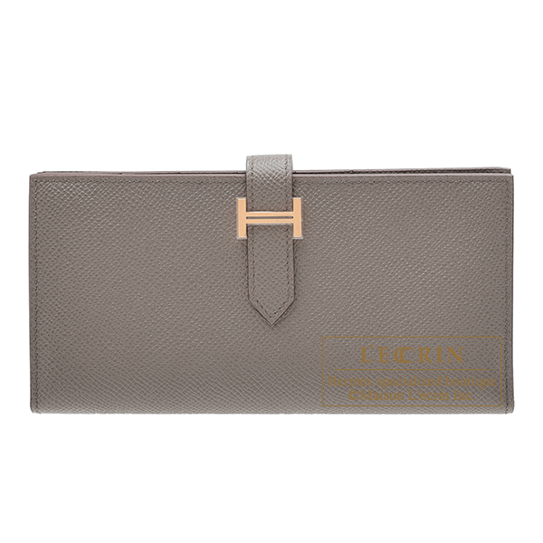 Hermes Bearn Soufflet Etain Epsom leather Rose gold hardware