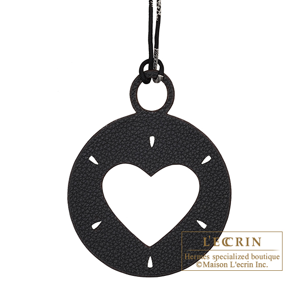 Hermes Petit H Heart Charm Black/ Green Clemence leather/ Epsom leather