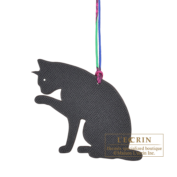 Hermes Petit H Cat Black/Grey Clemence leather/Epsom leather