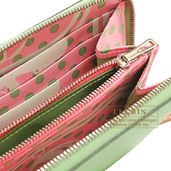 Hermes Azap Silk'In Vert criquet/ Rose confetti Epsom leather/ Silk Silver hardware