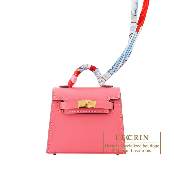 Hermes Kelly Twilly Rose lipstick Tadelakt leather/ Silk Gold hardware