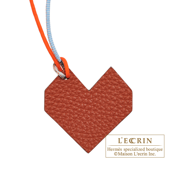 Hermes Petit H Heart Charm Brown/Red Clemence leather/Epsom leather