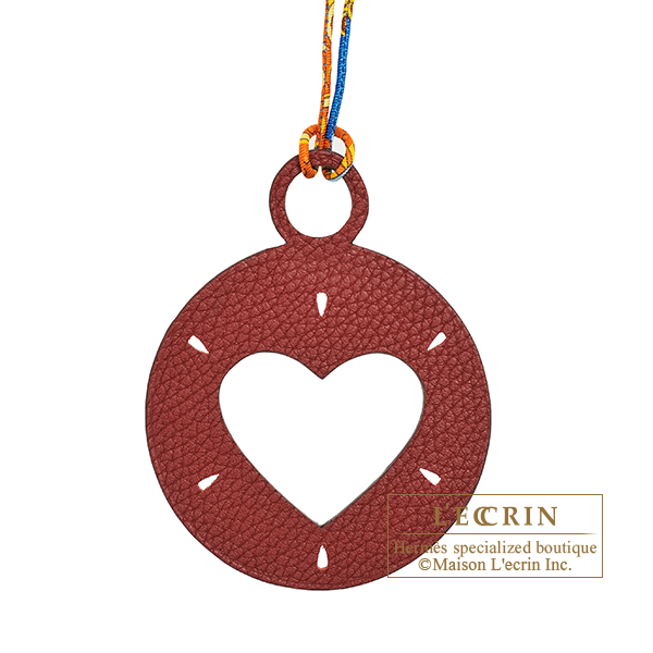 Hermes Petit H Heart Charm Dark red/ Green Clemence leather/ Epsom leather