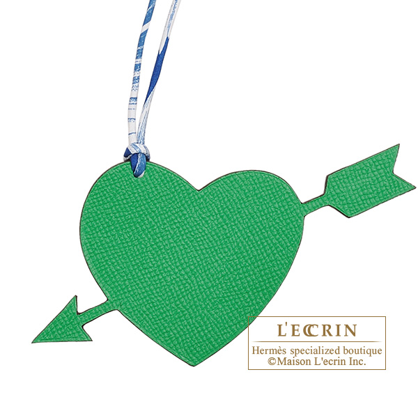 Hermes Petit H Pierced Heart Green/ Navy Clemence leather/ Epsom leather