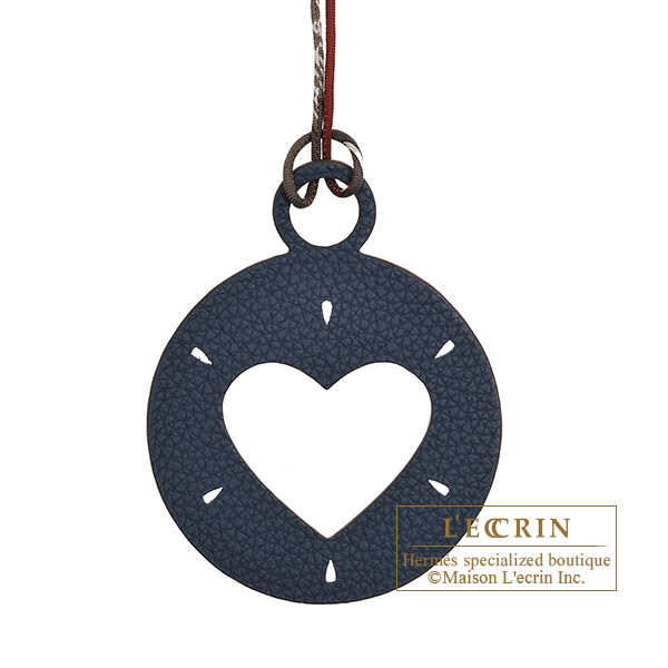Hermes Petit H Heart Charm Navy/ Pink Clemence leather/ Epsom leather