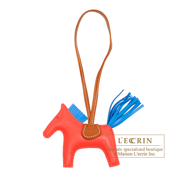 Hermes Rodeo charm PM Rose texas/ Blue zanzibar Agneau 6203