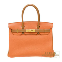 Hermes Personal Birkin bag 30 Orange/Gold Togo leather Gold hardware