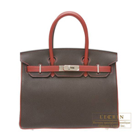 Hermes Personal Birkin bag 30 Chocolat/Rouge garance Togo leather Silver hardware