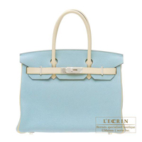 Hermes Personal Birkin bag 30 Ciel/Parchemin Clemence leather Silver hardware