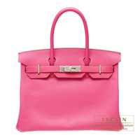 Hermes Personal Birkin bag 30 Rose shocking/Orange Chevre myzore goatskin Silver hardware