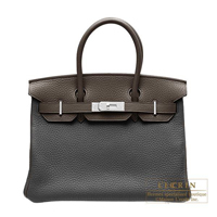 Hermes Personal Birkin bag 30 Black/Ebene Clemence leather Silver hardware