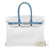 Hermes Personal Birkin bag 35 White/Blue jean Epsom leather Silver hardware