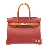 Hermes Personal Birkin bag 30 Rouge garance/Orange Togo leather Silver hardware