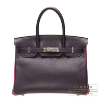 Hermes Personal Birkin bag 30 Raisin/Rose shocking Chevre myzore goatskin Ruthenium hardware